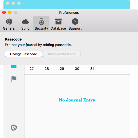 Passcode in Mac Journal App