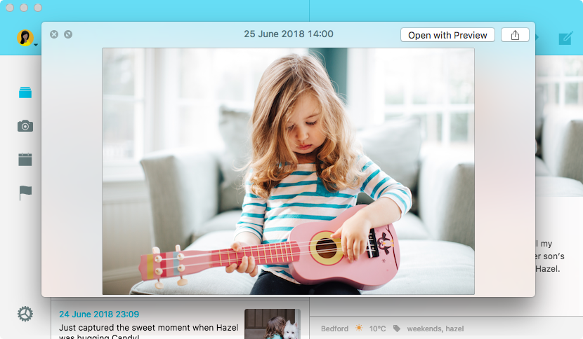 Preview photo in Mac Journal App